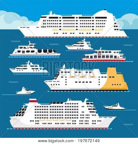 Seagoing vessels of all shapes and sizes set. Spacious cruise liners, luxurious yachts and modern ships stands on calm water surface under blue sky with fluffy clouds cartoon vector illustration.