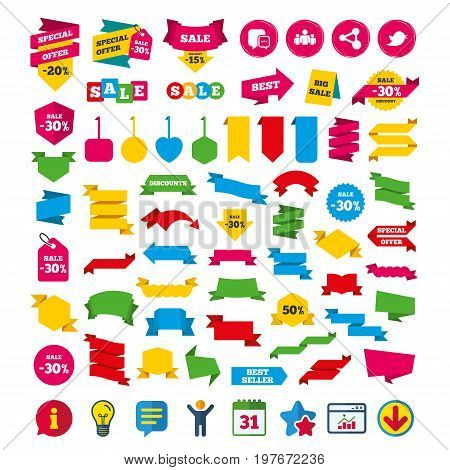 Social media icons. Chat speech bubble and Bird chick symbols. Human group sign. Shopping tags, banners and coupons signs. Calendar, Information and Download icons. Stars, Statistics and Chat. Vector