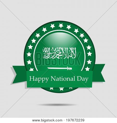 illustration of stamp in Saudi Arabia flag background with Happy National Day text on the occasion of Saudi Arabia National Day