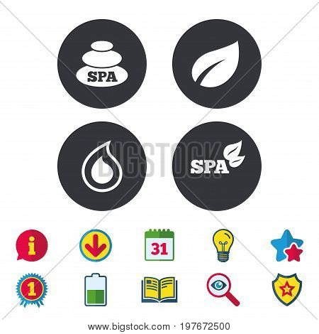 Spa stones icons. Water drop with leaf symbols. Natural tear sign. Calendar, Information and Download signs. Stars, Award and Book icons. Light bulb, Shield and Search. Vector
