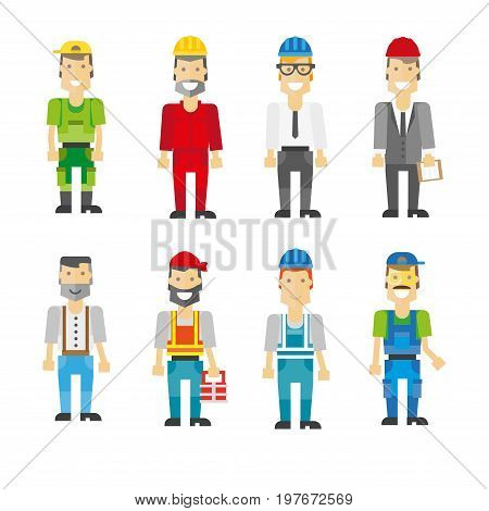 Construction workers in helmets and uniforms isolated vector illustrations set on white background. Men in bright caps, comfortable overalls, vests with stripes, protective glasses and office suits