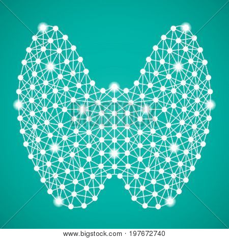 Human Thyroid Isolated On A Green Background. Vector Illustration.Endocrinology. Creative Medical Concept