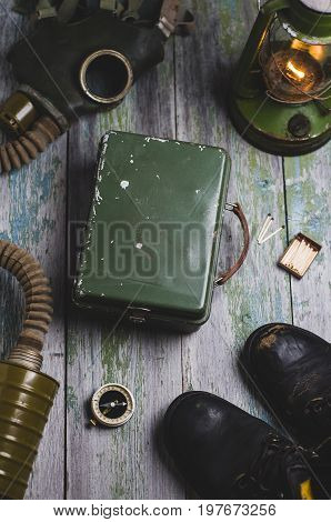 Gas Mask And Set For Survival. Apocalypse Or Nuclear War Concept