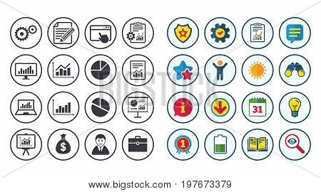 Set of Statistics, Accounting and Report icons. Charts, Presentation and Pie-chart signs. Analysis, Money bag and Business case symbols. Calendar, Report and Book signs. Vector