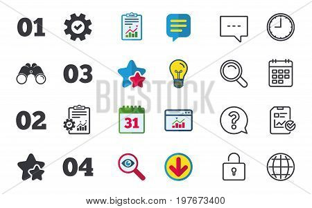 Step one, two, three and four icons. Sequence of options symbols. Loading process signs. Chat, Report and Calendar signs. Stars, Statistics and Download icons. Question, Clock and Globe. Vector