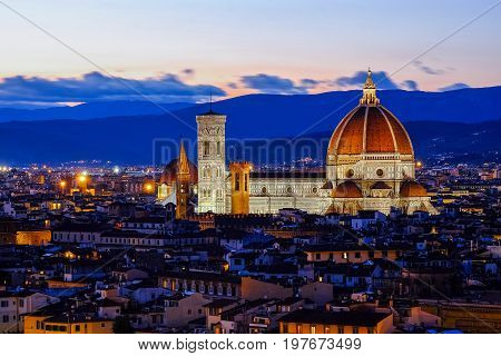 Florence Cathedral scenic view at sunset from Piazzale Michelangelo in Florence, Italy