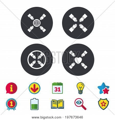 Teamwork icons. Helping Hands with globe and heart symbols. Group of employees working together. Calendar, Information and Download signs. Stars, Award and Book icons. Light bulb, Shield and Search
