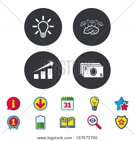 Chart with arrow, brainstorm icons. Cash money and lamp idea signs. Scheme and Diagram symbol. Calendar, Information and Download signs. Stars, Award and Book icons. Light bulb, Shield and Search