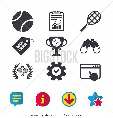 Tennis ball and rackets icons. Winner cup sign. Sport laurel wreath winner award symbol. Browser window, Report and Service signs. Binoculars, Information and Download icons. Stars and Chat. Vector