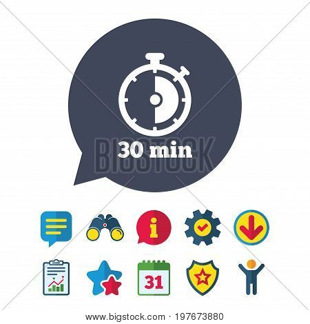 Timer sign icon. 30 minutes stopwatch symbol. Information, Report and Speech bubble signs. Binoculars, Service and Download, Stars icons. Vector