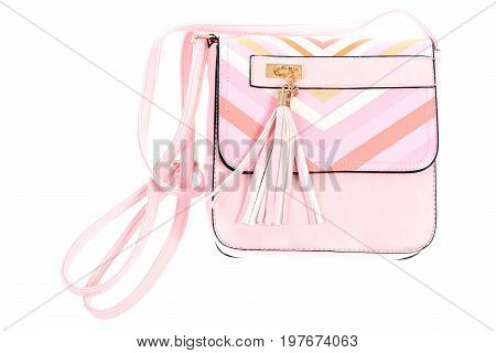 Leather Purse In Pink Colour Isolated On White Background