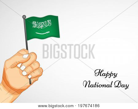 illustration of hand holding Saudi Arabia flag with Happy National Day text on the occasion of Saudi Arabia National Day
