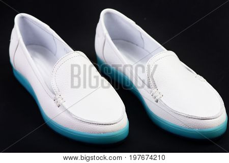 Casual Sports Footwear For Women. Female Moccasins In White Color