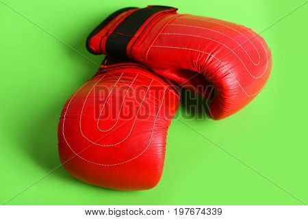 Concept Of Sports Fight And Protection With Boxing Gloves