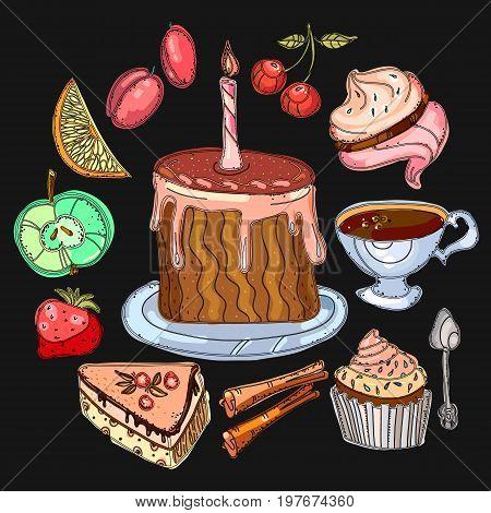 Tea collection. Tea party elements tea pot sweets cakes bakery. Hand drawn vector
