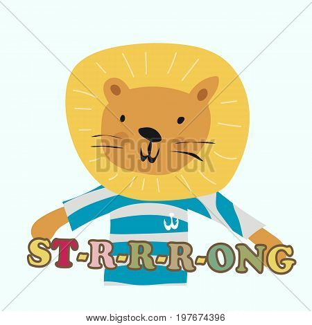 Cute lion print. Funny young lion seaman posters card t-shirt design