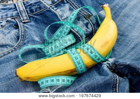 Health And Male Sexuality Concept: Pants Crotch And Banana