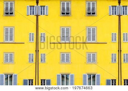Close up Architectural Details Yellow Building Windows
