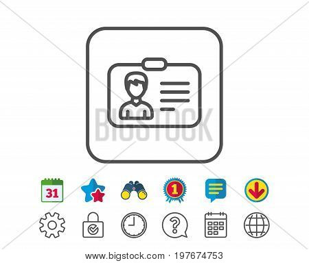 ID card line icon. User Profile sign. Male Person silhouette symbol. Identification plastic card. Calendar, Globe and Chat line signs. Binoculars, Award and Download icons. Editable stroke. Vector
