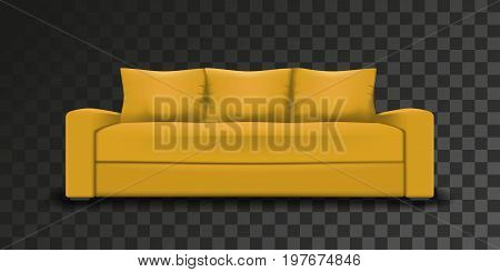Yellow sofa on transparent background. Realistic vector mesh