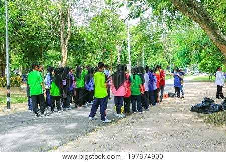YALA THAILAND - JULY 30 2017: Student University Cleaning volunteer create Event for Environmental in the Public Park