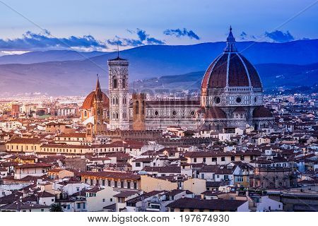 Florence Cathedral scenic view from Piazzale Michelangelo in Florence, Italy