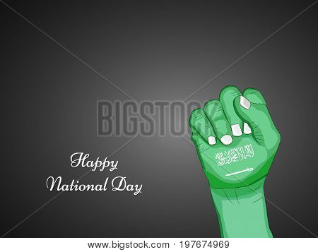 illustration of hand in Saudi Arabia flag background with Happy National Day text on the occasion of Saudi Arabia National Day