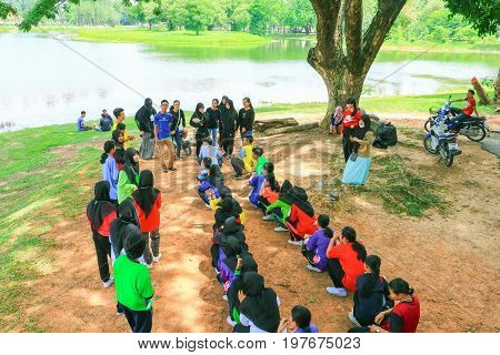 YALA THAILAND - JULY 30 2017: Student University Cleaning Prepared volunteer Event for Environmental in the Public Park