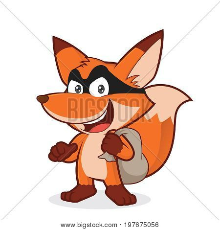 Clipart picture of a fox thief cartoon character