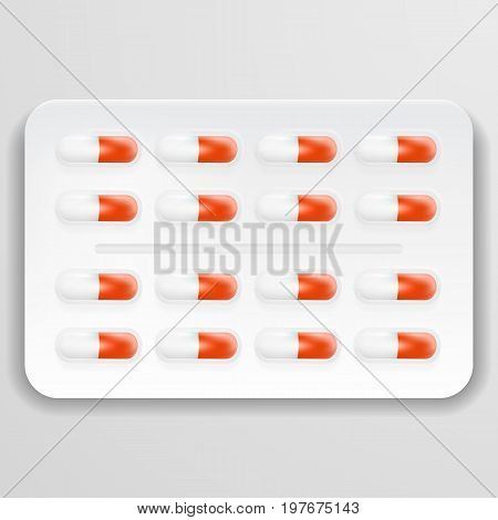 Pharmacy Theme, White And Red Medicine Tablets Antibiotic Pills Isolated On A Background. Vector Illustration. Pharmaceuticals. Creative Medical Concept