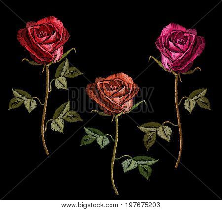 Embroidery red roses on black background. Classic embroidery red roses flowers. Template for clothes textiles t-shirt design vector