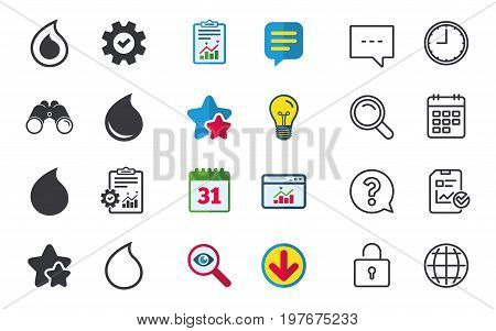 Water drop icons. Tear or Oil drop symbols. Chat, Report and Calendar signs. Stars, Statistics and Download icons. Question, Clock and Globe. Vector