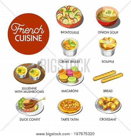 Vector illustration of different dishes of French cuisine.