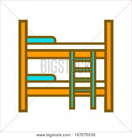 Vector illustration of wooden bed with two tiers with ladder.