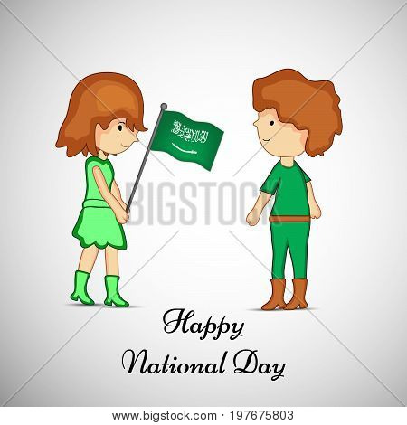 illustration of boy and girl holding Saudi Arabia flag with Happy National Day text on the occasion of Saudi Arabia National Day
