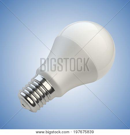 Energy efficiency LED light bulb. Power saving lamp. 3d rendering illustration isolated of blue background.