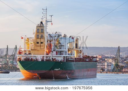 Bulk Carrier Stern, Industrial Ship With Deck Cranes