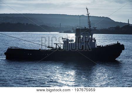 Tug Boat Is Underway. Black Sea, Varna Harbor