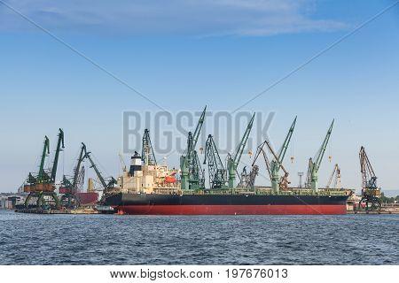 Bulk Carrier, Big Cargo Ship Stands Moored In Port