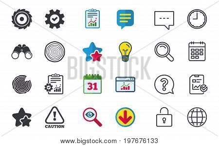 Wood and saw circular wheel icons. Attention caution symbol. Sawmill or woodworking factory signs. Chat, Report and Calendar signs. Stars, Statistics and Download icons. Question, Clock and Globe