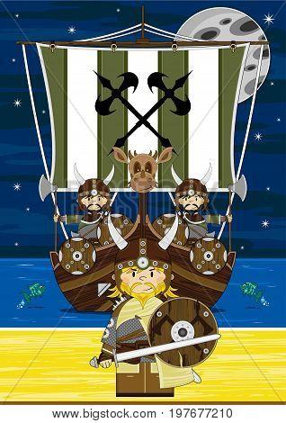 Vikings Warriors & Ship Scene