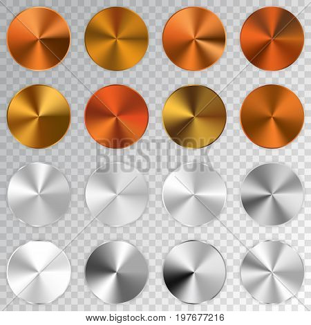 Conic Metallic Gradients Set, Cooper, Golden, Bronze, Silver Texture Collection, Shine, Glowing Obje