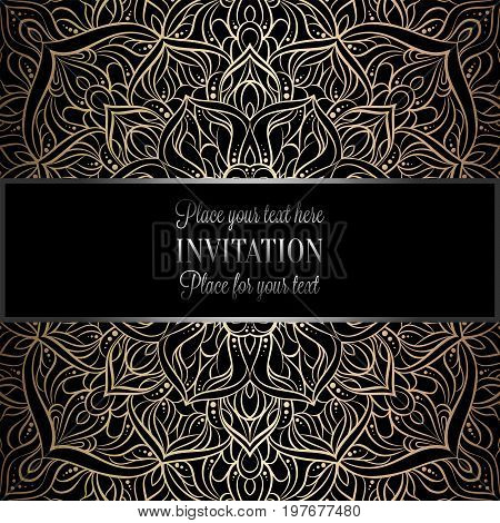 Baroque Background With Antique, Luxury Black And Metal Gold Vintage Frame, Victorian Banner, Damask