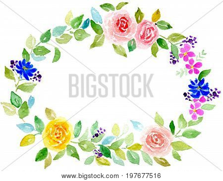 Hand-painted watercolor illustration wreath of roses with leaves  for greeting card Isolated on white background and paper texture