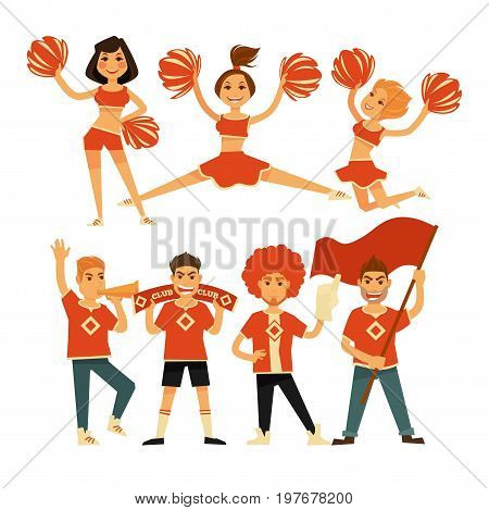 Cheerleaders and sport club cheerleading fans. Girls performing with pom-pom garment. Boys with flag, whistle megaphone or thumb up glove and team banner. Vector flat isolated people icons