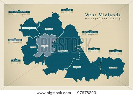 Modern Map - West Midlands Metropolitan County With District Labels England Uk