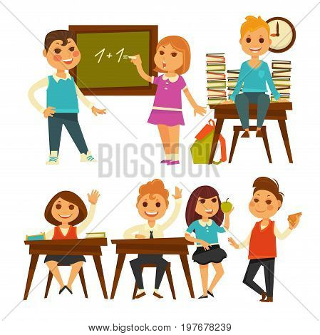 Children in school at lessons. Boy and girl at chalkboard with equation, sitting at desk with lifted hand and books, pupils talking at lunch break. Vector flat isolated icons set