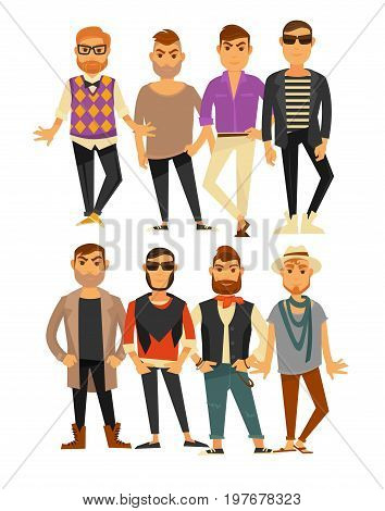 Men styles or man fashion models in different clothes and accessories sunglasses, jacket or trousers and shoes or sneakers and hat, hipster beard and modern haircut. Vector flat isolated icons set