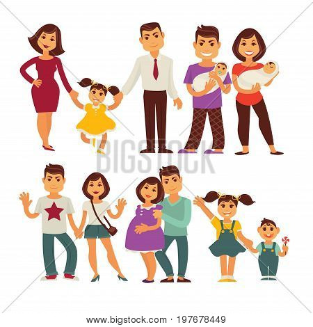 Family members of mother, father and children characters of pregnant woman and man with newborn girl, happy boy with sister and brother. Vector flat people icons set