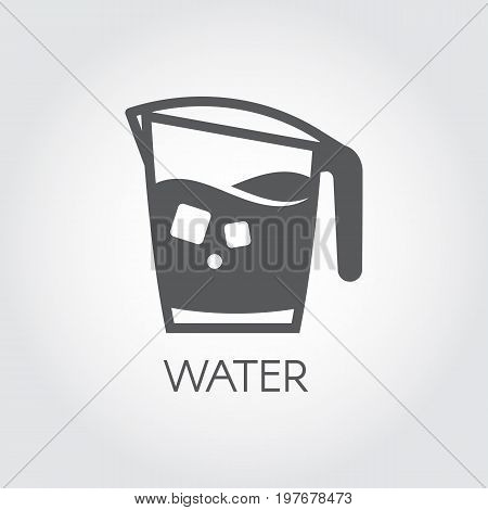 Carafe of water or other abstract beverage and ice cubes. Flat icon - cookery simplicity pictograph. Vector drink illustration